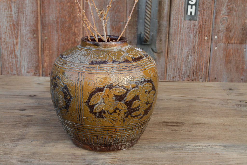 Floral Martaban Antique Jar