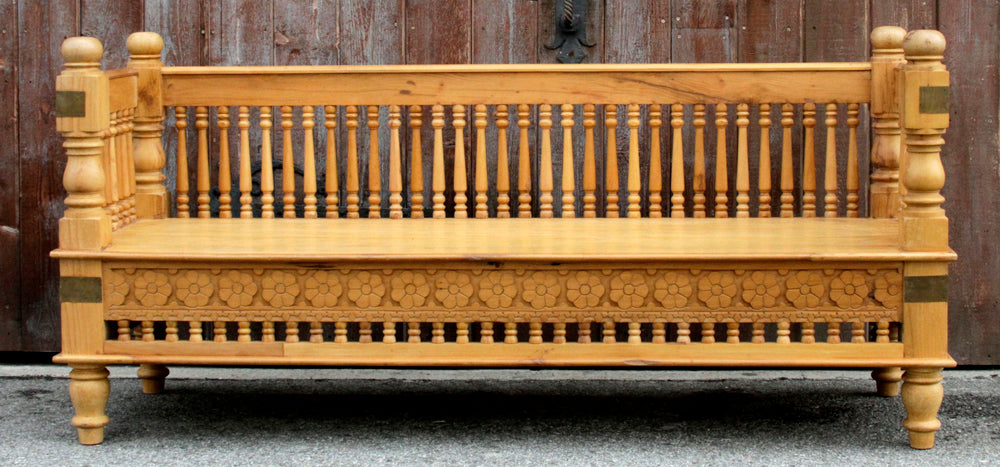 Anglo-Indian Spindle Bench (Natural)