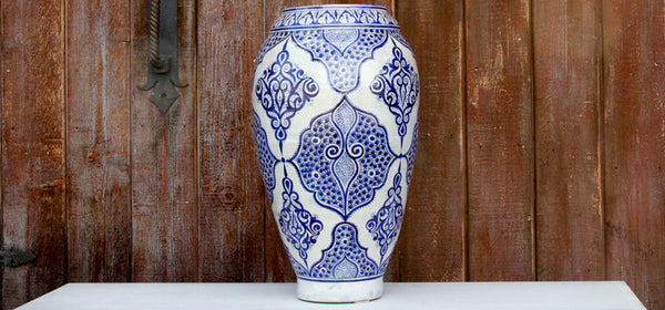 Vintage Moroccan Blue And White Vase