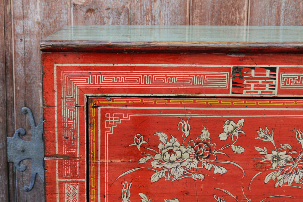 Red Lacquered Painted Sideboard