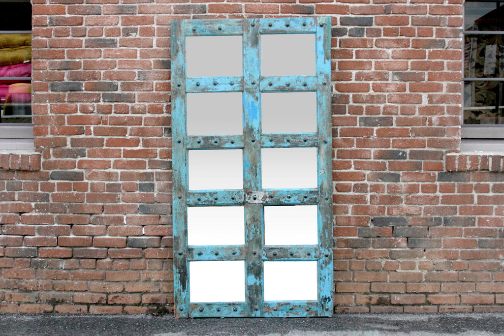 Antique Azul Window Mirror