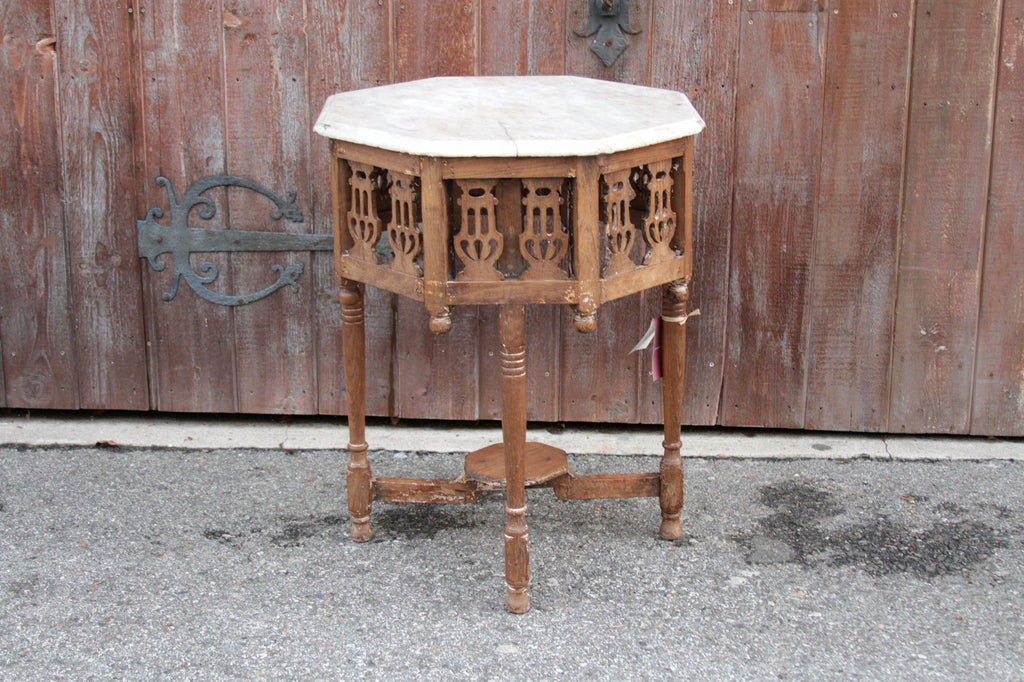 Octagonal Marble Top Colonial Table