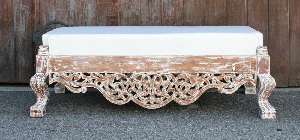 Whitewash Raj Anglo Indian Carved Ottoman