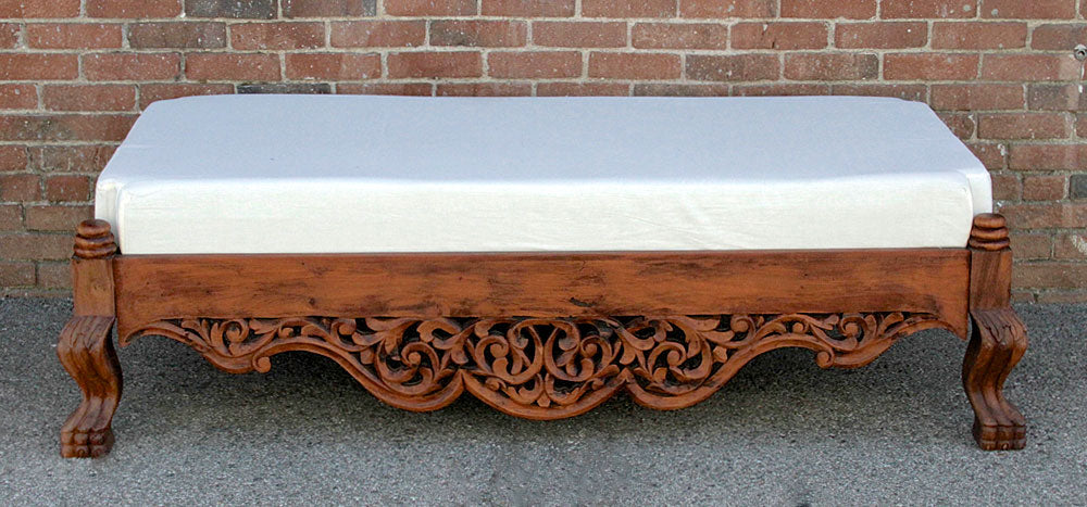 Raj Anglo Indian Carved Ottoman
