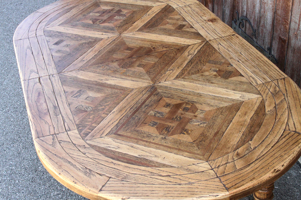 French Antique Parquet Dining Table