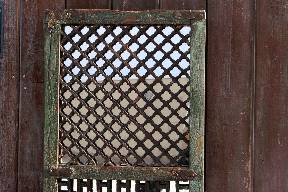 19th Century Lattice Window Mirror