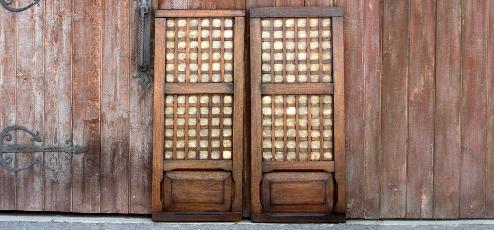 Pair Of Sumatran Shell And Wood Windows