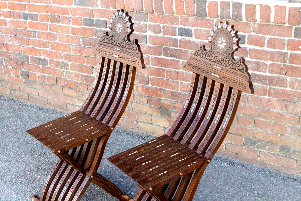 Mother Of Pearl Inlay Chairs, Set of 2