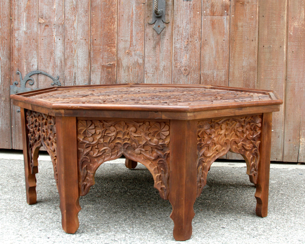 Moorish Carved Octagonal Coffee Table