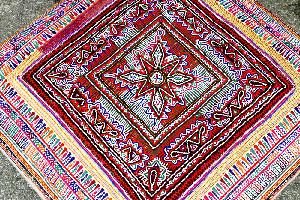 Embroidered Rabari Tapestry Ottoman