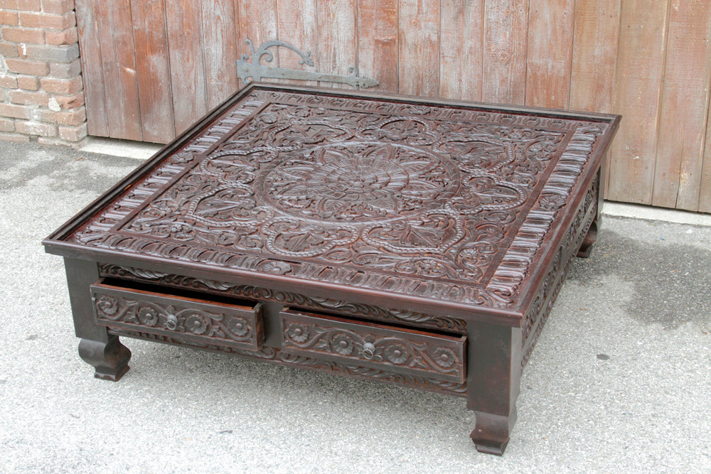 Dilawara Lotus Carved Table