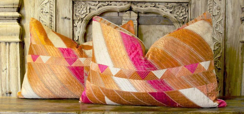 Afshin Phulkari Lumbar Pillows, Pair