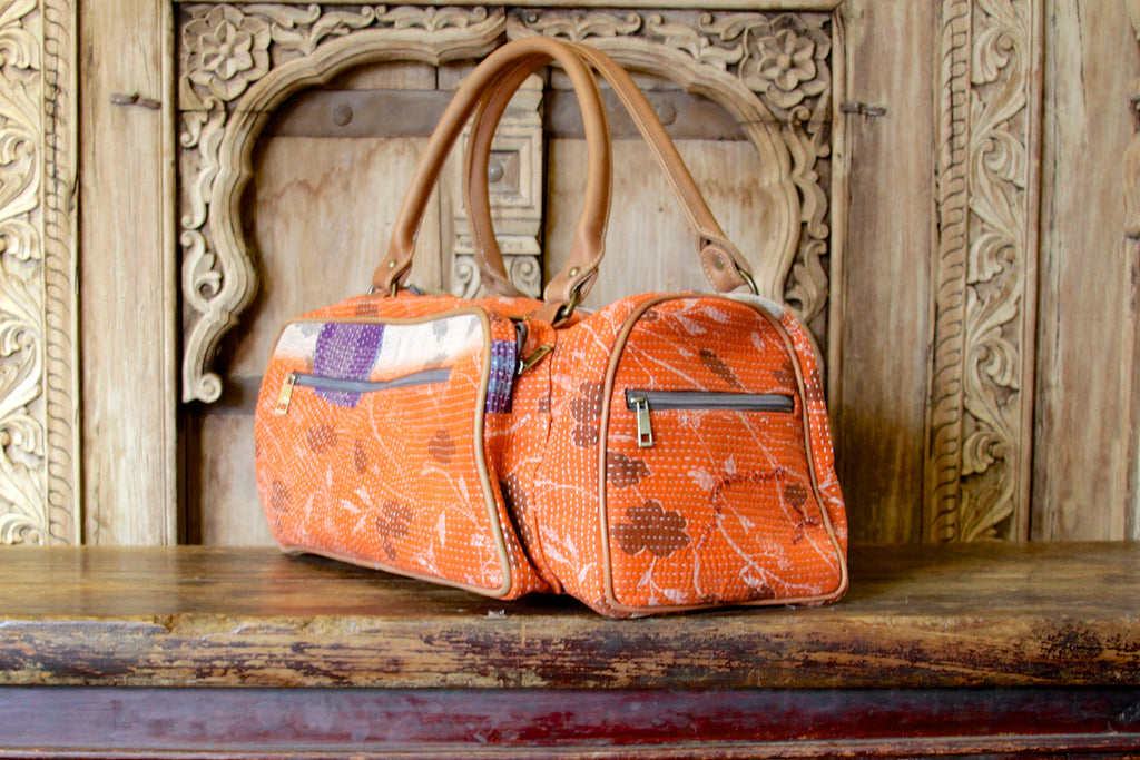 Orange Bengal Kantha Bag