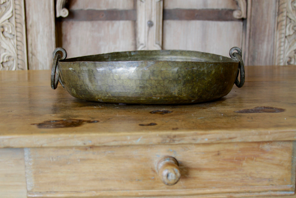 Hand-Hammered Brass Bowl W/ Handles