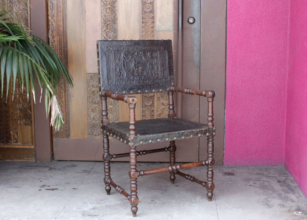 19th Century French Embossed Leather Arm Chair