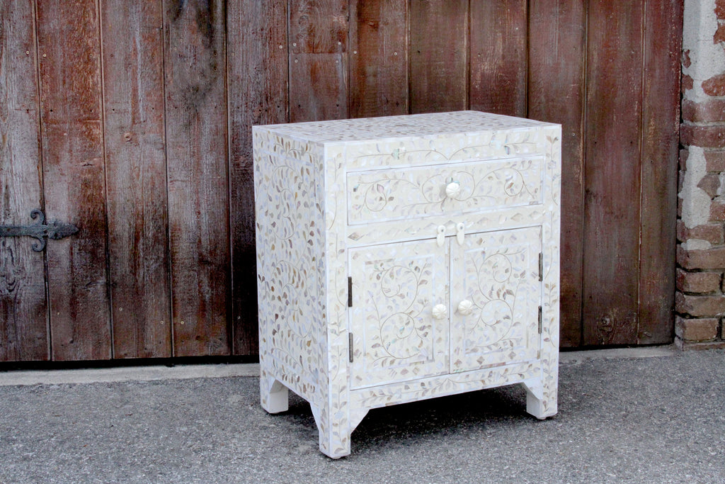 Mother Of Pearl Inlaid Nightstand Cabinet