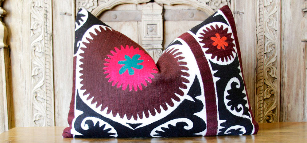 Vapusha Antique Suzani Lumbar Pillow