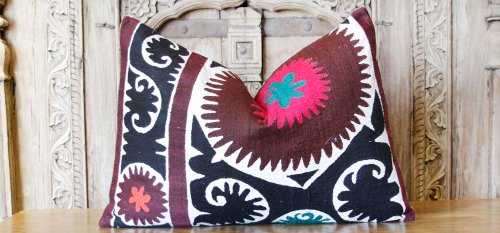 Sarwana Antique Suzani Lumbar Pillow