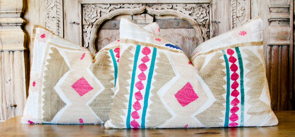 Pair Of Vaatika Antique Suzani Lumbar Pillows