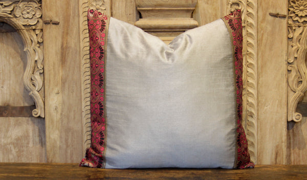Small Bold Gray Heritage Silk Pillow