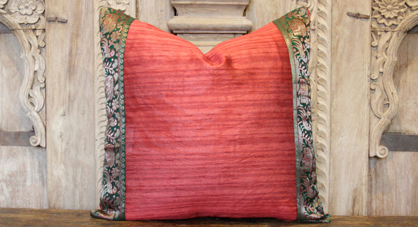 Small Festive Red Heritage Silk Pillow