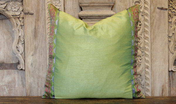 Small Floral Green Heritage Silk Pillow
