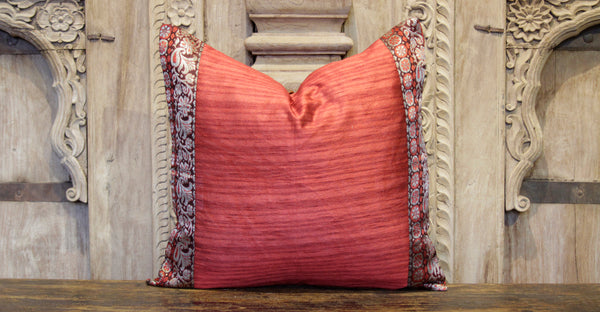 Small Floral Red Heritage Silk Pillow