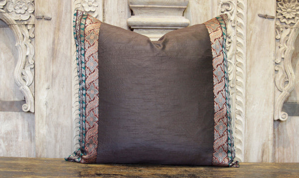 Small Foliate Brown Heritage Silk Pillow