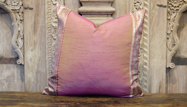 Small Gilded Dusty Rose Heritage Silk Pillow