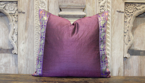 Small Peacock Purple Heritage Silk Pillow