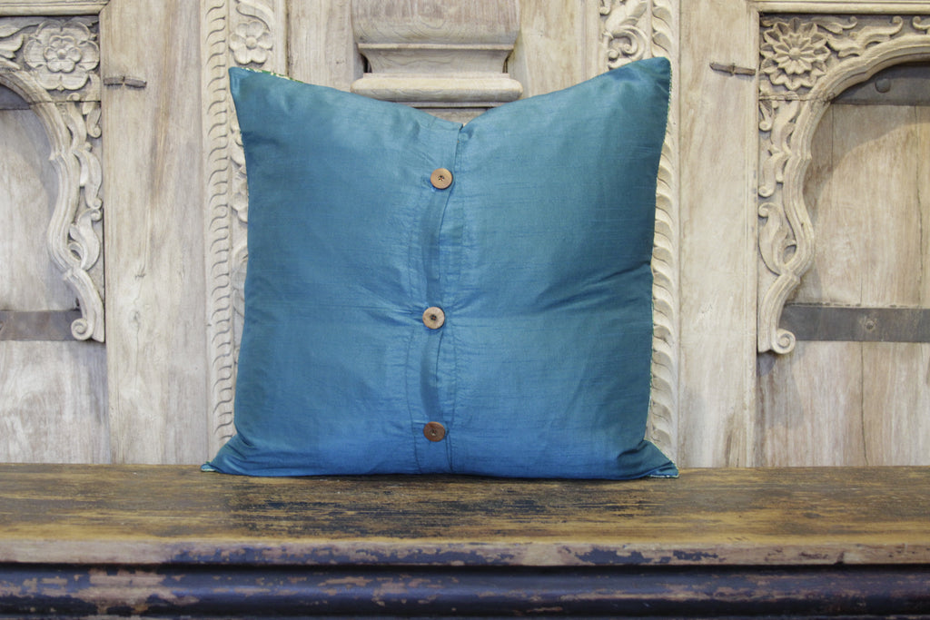 Small Vintage Lace Teal Heritage Silk Pillow