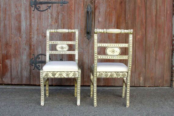 Anglo Indian Bone Inlay Chairs, Pair