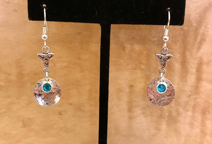 Stunning sterling silver earrings with Aquamarine Swarovski crystal.
