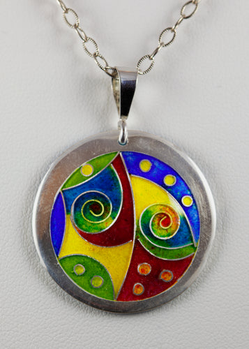 Bold and Colorful Abstract Cloisonné Pendant