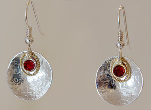Sterling Silver Earring with Red Crystal