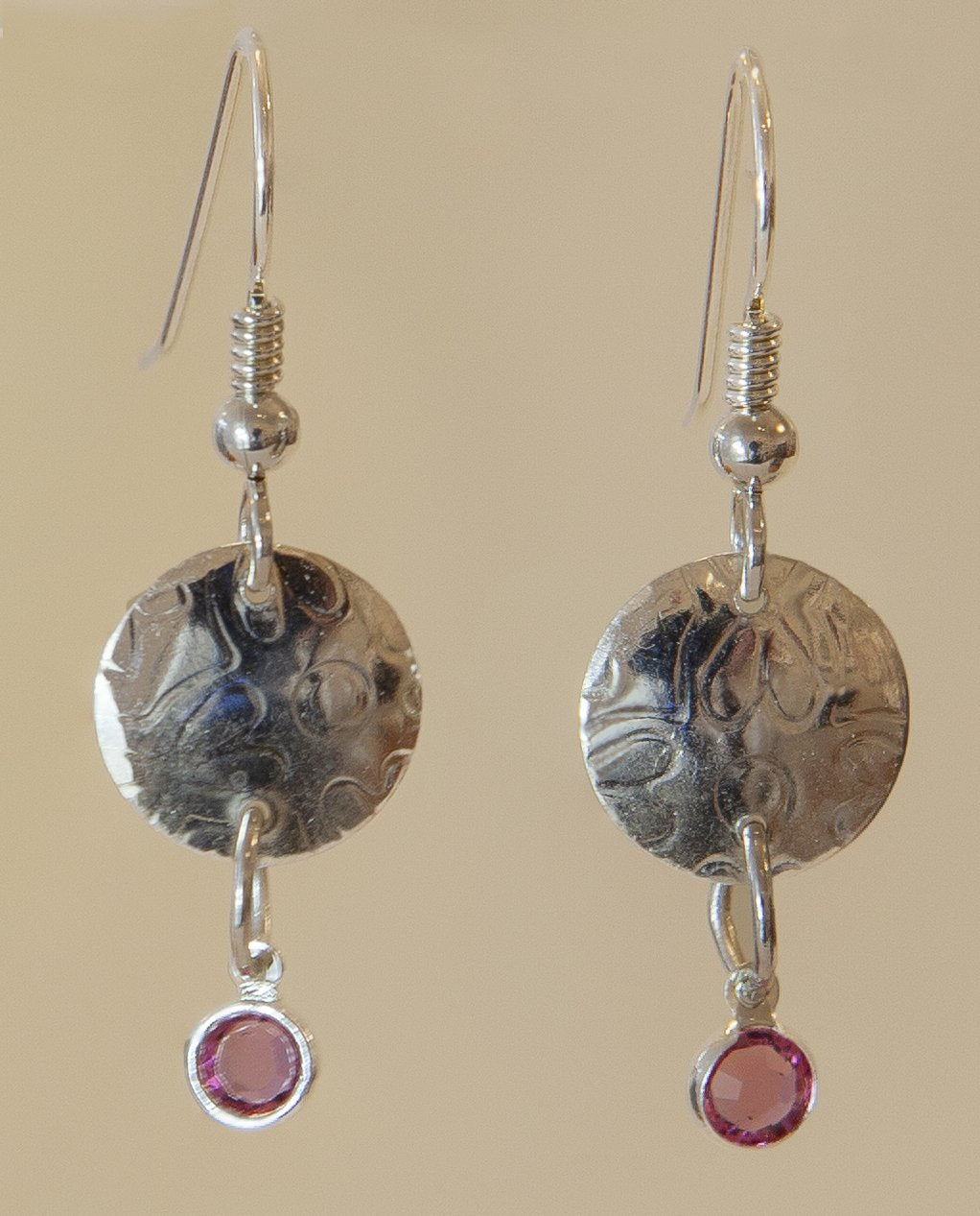 Sterling Silver with Pink Crystal Drops