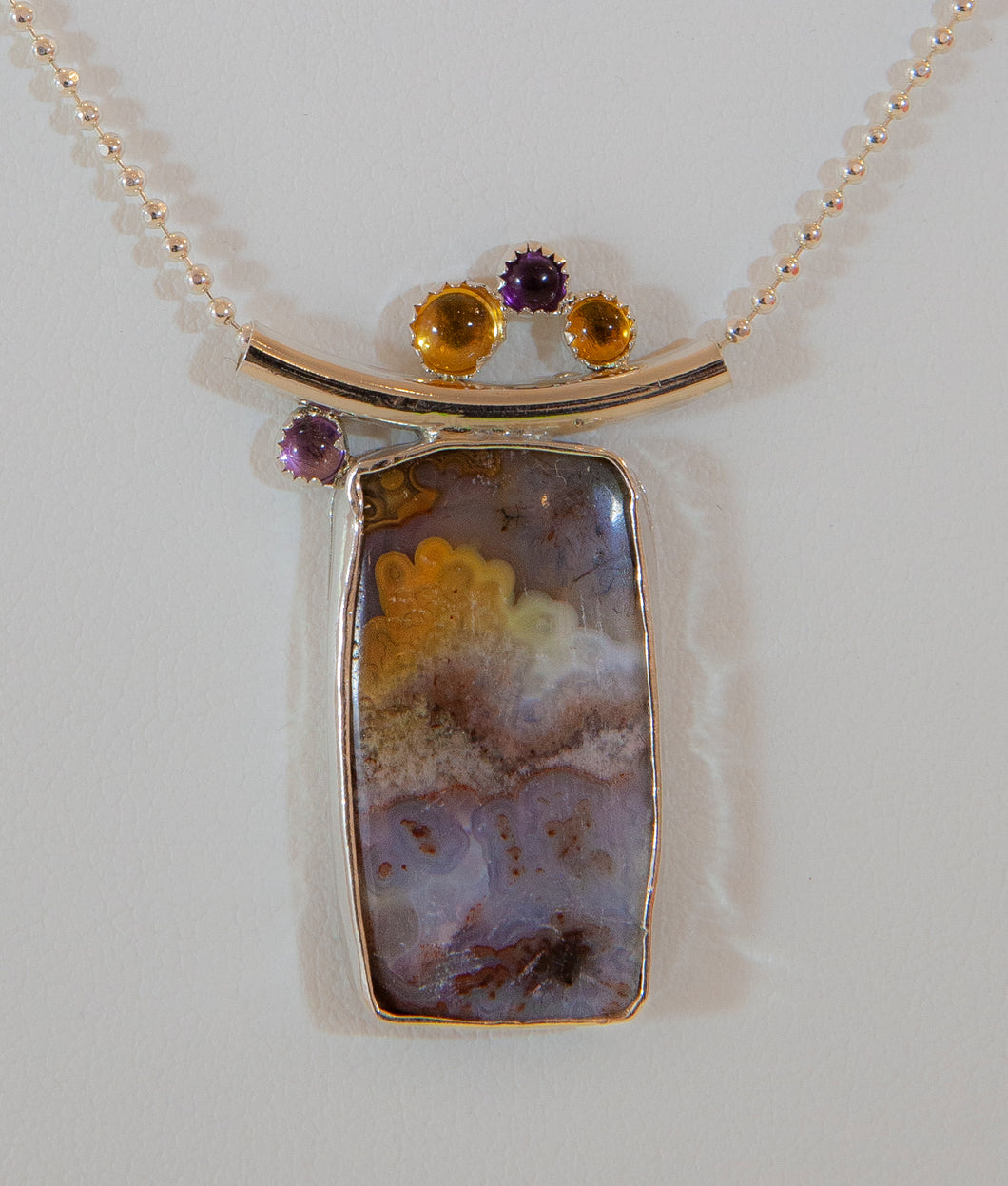 Agate with Amethyst and Topaz
