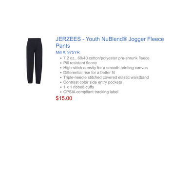 Jerzee Youth Jogger NON PE-Pant