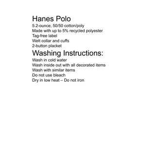 school uniform sizing and washing instructions