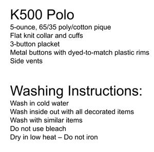 Dilworth Turquoise Polo School Uniform - Male and washing instructions