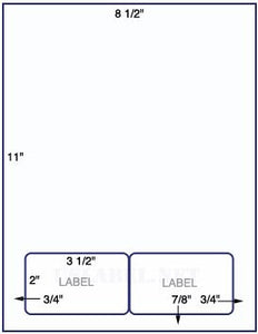 US0006AP- 8 1/2'' x 11'' 24lb. Bond Sheet with two 3 1/2'' x 2'' labels. - uslabel.net  America's label store.