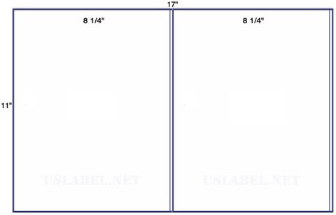 US5040 - 2 up 8 1/4'' x 11'' 2 wide on a 11'' x 17'' - 2,000 labels.