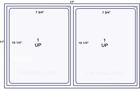 US5060- 2 up 7 3/4'' x 10 1/4'' face scored 1,000 sheets