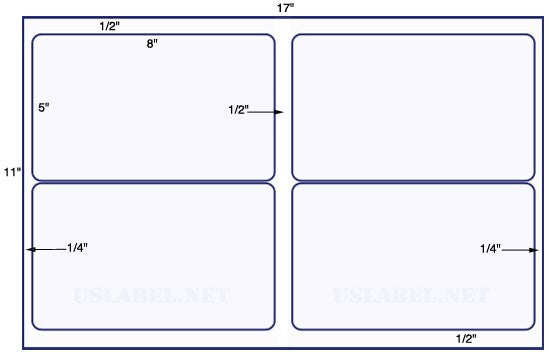 "US5180 - 8"" x 5'' -  4 up label  on a 11'' x 17'' sheet"