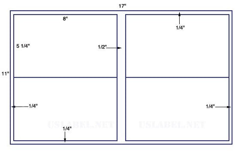 US5179 - 8'' x 5 1/4'' - 4 up label on a 11'' x 17'' sheet