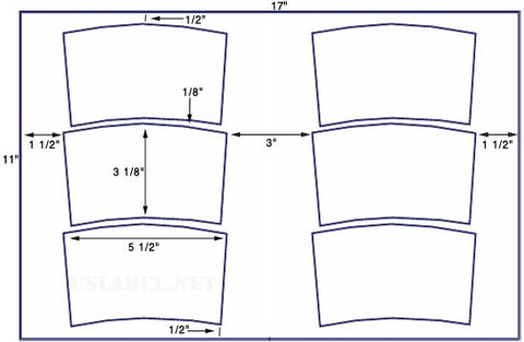 US5240 - 5 1/2'' x 3 1/8'' tub label 6 up on a 11'' x 17'' sheet