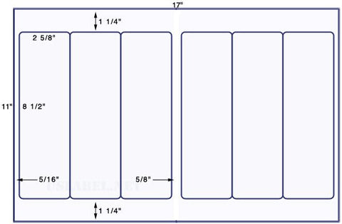 US5260 - 2 5/8'' x 8 1/2'' - 6 up label on a 11'' x 17'' sheet