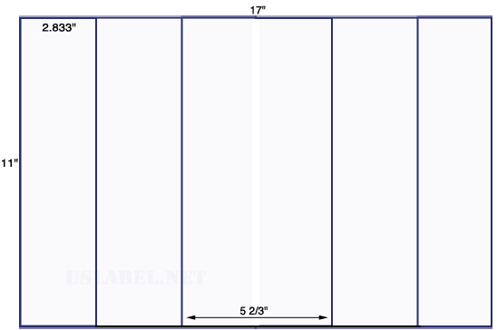 US5261 - 2.833'' x 11'' - 6 up label on a 11'' x 17'' sheet