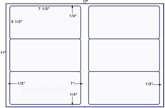 US5280 -  7 1/2'' x 3 1/2'' - 6 up label on a 11'' x 17'' sheet