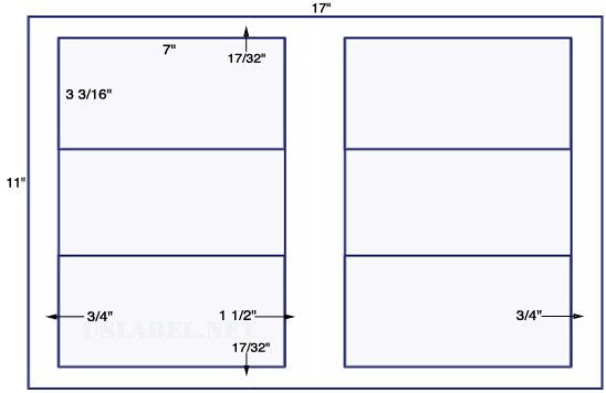 US5281 - 7'' x 3 5/16'' - 6 up label on a 11'' x 17'' sheet